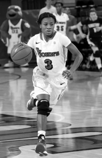 St. John's guard, Aliyyah Handford, dribbles towards basket during Big East basketball contest between Georgetown and St. John's, at Lou Carnesecca Arena, on St. John's University campus, on Saturday February 9, 2013. (Robert Cole)